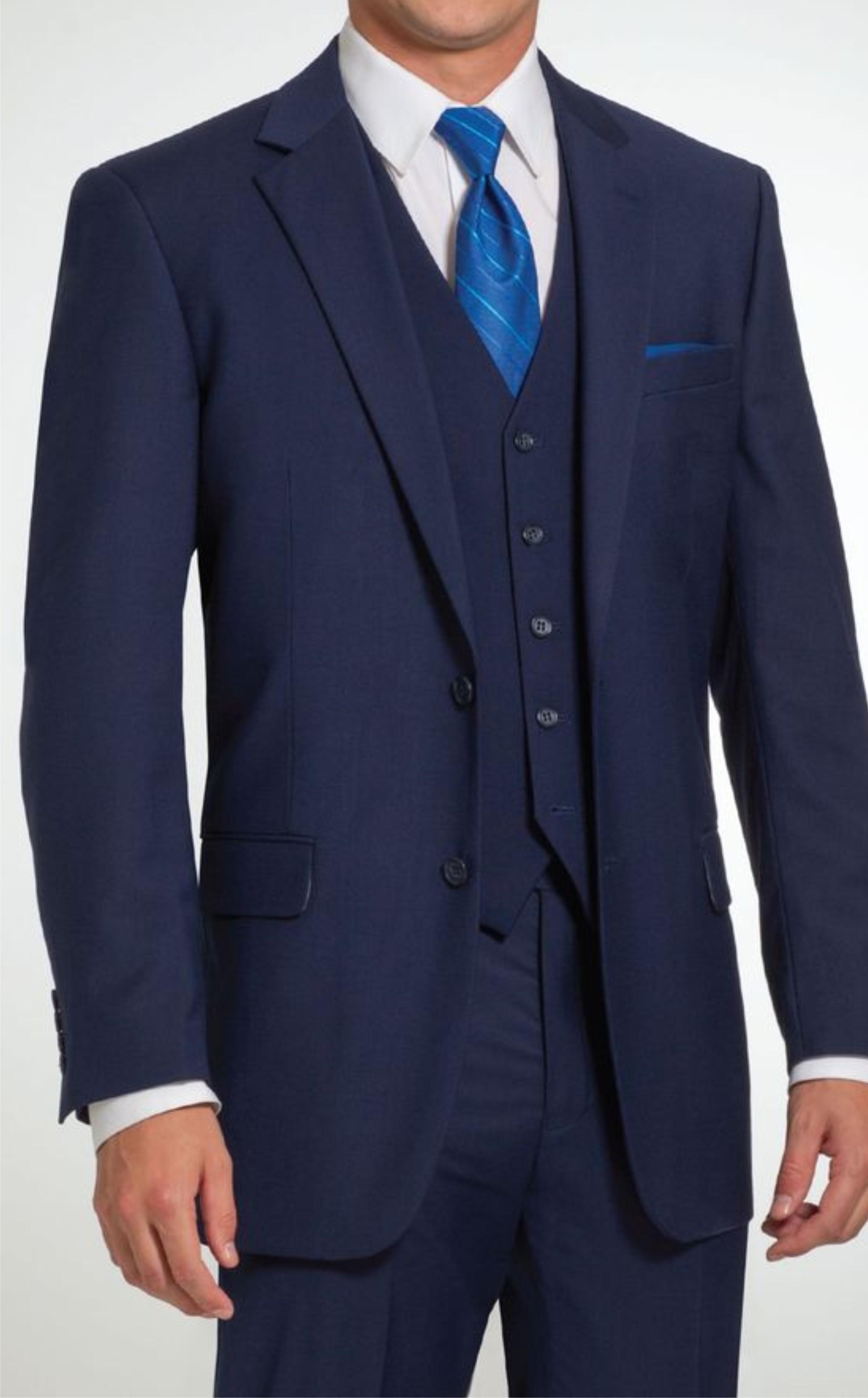 Suit Men S Formal Three Piece Blue Blazer Trouser Waist