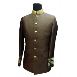 Prince Coat Brown Fancy Jaccord With Beige Silk Trimming