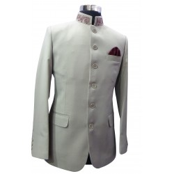 Prince Coat Beige With Embroidery on Neck