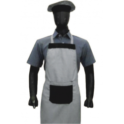 APRON BIB BLACK AND WHITE HOUNDSTOOTH CHECKS WITH CAP SET