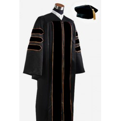 Deluxe Doctoral Graduation Gown With Velvet Banding with hat & Tassels.