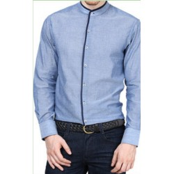 SHIRT FORMAL MEN'S WEAR EXECUTIVE, OFFICE WEAR PREMIUM BLUE COLOUR BLACK TRIMMING
