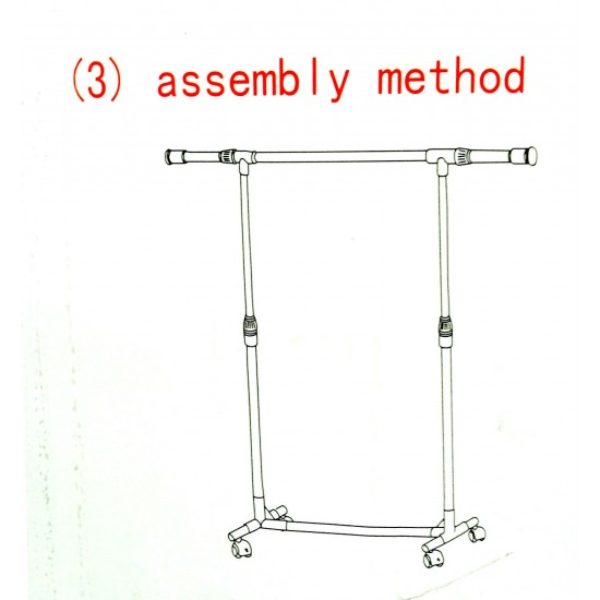 Clothes Rack Adjustable Height Garment Hanging Rail Stand with Middle Rail