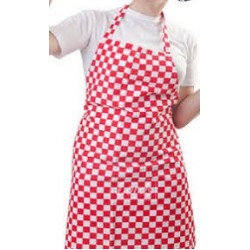 BIB RED AND WHITE SHALIMAR CHECK APRON - CHEF WEAR |  LORDS