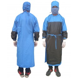 SURGEON GOWN COTTON BLUE CASEMENT WITH WATERPROOF FABRIC STITCHED ON CRITICAL AREA FOR PROTECTION