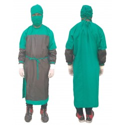 SURGEON GOWN 100% COTTON WITH PVC COVERING WITH FACE MASK AND SURGEON CAP