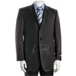 Suit Dark Grey Stripe Complete Two Button Blazer, Trouser, Shirt & Neck Tie.