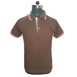 Men's TShirts Brown with Red & Beige Tripping Polyester Cotton Blend