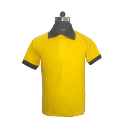 Men's TShirts Yellow with Black Combi Polyester Cotton Blend