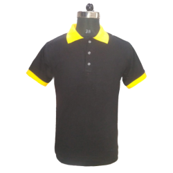Men's TShirts Black with Yellow Combi Polyester Cotton Blend