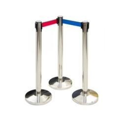 Q MANAGER 3 PIECES QUEUE MANAGER Q-Manager. SET OF THREE PIECES. STAINLESS STEEL-RETRACTABLE BELT STANCHIONS