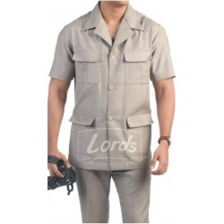UTILITY UNIFORM WORK WEAR SAFARI SUIT SHIRT & BELTED TROUSER AS SHOWN.