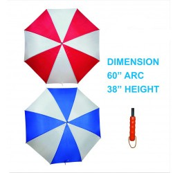 "GOLF UMBRELLA WOODEN HANDLE SPORTY TWO TONE 60"" ARC."