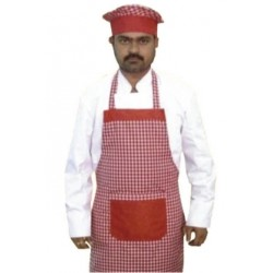 APRON BIB RED AND WHITE GERMAN CHECKS WITH CAP SET