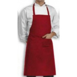 APRON BIB PLAIN RED COOK WEAR HOUSE WEAR.