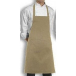 APRON BIB PLAIN BEIGE COOK WEAR HOUSE WEAR.