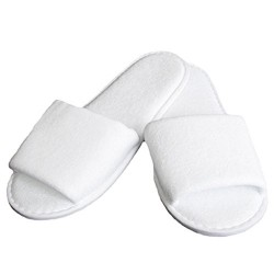 SLIPPER WHITE BATH SLIPPER MADE FROM TOWELING FABRIC, WITH 3 MM RUBBER SOLE. OPEN FRONT