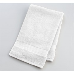 "HAND TOWEL PREMIUM COTTON WHITE SIZE 16"" X 27"" WEIGHT 150 GMS PER PC."