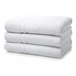 "BATH TOWEL  COTTON WHITE FULL SIZE 27"" X 54"" WEIGHT 375 GMS PER PC."