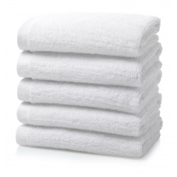 "FACE  TOWEL 30 GRAMS SIZE 10"" x 10"" WHITE PEROXIDE BLEACH COTTON"