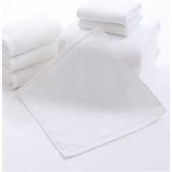 "FACE  TOWEL 50 GSM SIZE 12"" x 12"" WHITE PEROXIDE BLEACH COTTON"