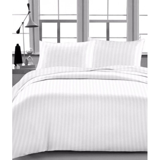 """BED SHEET MICRO POLYESTER WHITE STRIPE SIZE 60"""" x 90"""" 100% POLYESTER BLEND"""