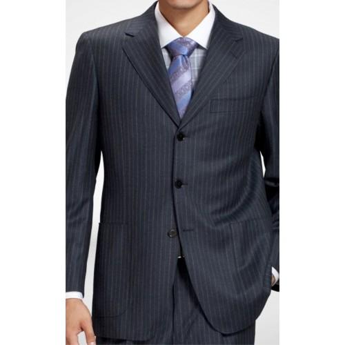 Suit Navy Blue Self Stripe Blazer Trouser Shirt Neck Tie