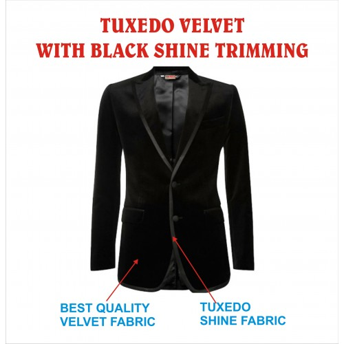 Tuxedo Blazer Men's Velvet Black With Shiny Trimming Price Rs 1550  Including GST & Door Delivery Anywhere in India