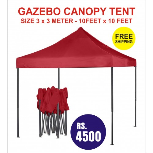 GAZEBO CANOPY TENT RED COLOR SIZE 3 METER X FOLDABLE OUTDOOR PARTY WEDDING MARKET PARKING