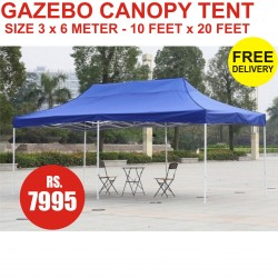 GAZEBO CANOPY TENT BLUE COLOR SIZE 3 METER X 6 METER FOLD ABLE OUTDOOR PARTY WEDDING MARKET PARKING.