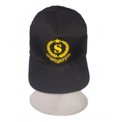 SECURITY P- CAP  MADE FROM BLACK SUITING BLENDED WITH PRINT