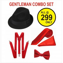 GENTLMEN COMBO SET. 1 HAT- 1 NECK TIE- 1 BOW-1 POCKET SQUARE TIE- 1 SUSPENDER . TOTAL 5 NOS