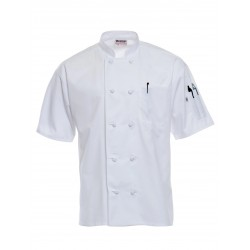 CHEF COAT SHORT SLEEVE EXECUTIVE CHEF WEAR DOUBLE BREASTED COOK COAT.