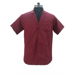 APRON LAB COAT DR COAT SUPERVISOR COAT MAROON HALF SLEEVE