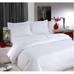 "DUVET COVER SIZE 92""x102"" WHITE 40'S COUNT COTTON SILKY STRIPE 200 THREAD COUNT."