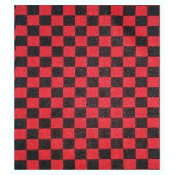 SUITING CHESS CHECK RED & BLACK FABRIC HEAVY P.V. BLEND