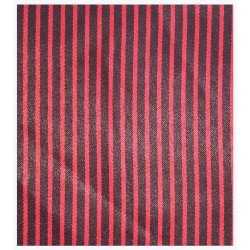 SUITING BLACK BASE RED STRIPE ZEBRA STRIPE P.V. BLEND FABRIC