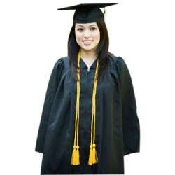 GRADUATION GOWN + STOLE + CAP WITH LONG ROPE TASSEL