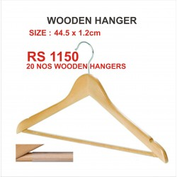 20 PIECES WOODEN SUIT  HANGER  WITH ANTI SLIP RUBBER TUBE BAR .