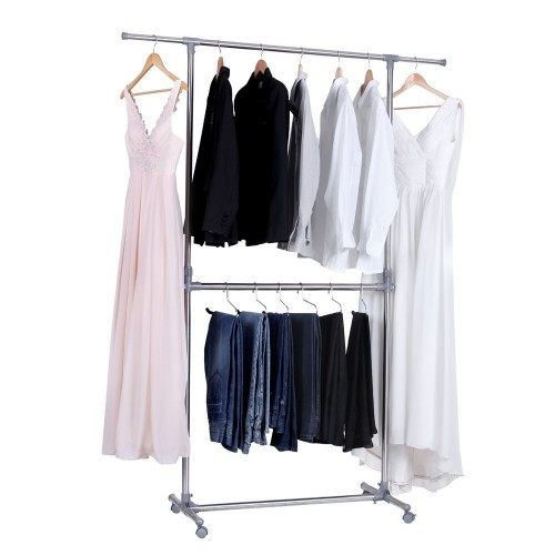 double cloth portable adjustable clothes rack
