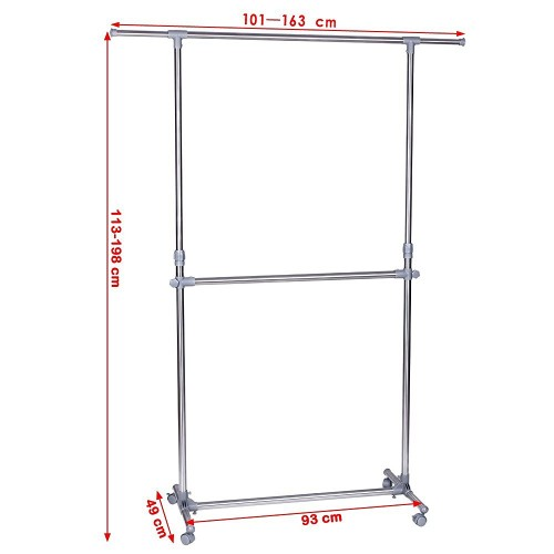 Clothes Rack Adjustable Height Garment Hanging Rail