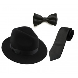 HAT TIE BOW SET. HAT PANAMA FEDORA STYLISH FELT QUALITY HAT WITH BLACK NECK TIE &  BOW TIE. ALL BLACK