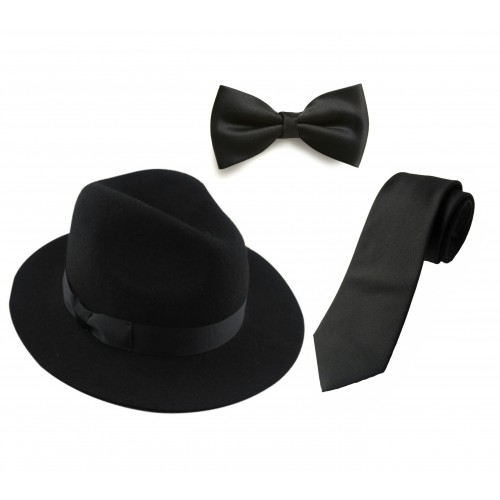 a31dcf3aad0 HAT PANAMA FEDORA STYLISH FELT QUALITY HAT WITH BLACK NECK TIE   BOW TIE.  ALL BLACK