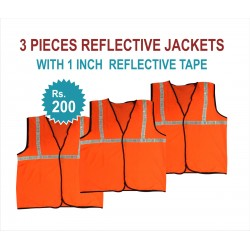 "3 PIECES REFLECTIVE JACKETS- 1"" REFLECTIVE TAPE JACKETS. RS 200 FOR PACK OF 3 PIECES JACKETS. PRICE INCLUDES GST & DOOR DELIVERY ANYWHERE IN INDIA"