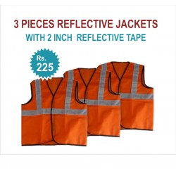 "3 PIECES REFLECTIVE JACKETS- 2"" REFLECTIVE TAPE JACKETS. RS 225 FOR PACK OF 3 PIECES JACKETS. PRICE INCLUDES GST & DOOR DELIVERY ANYWHERE IN INDIA."