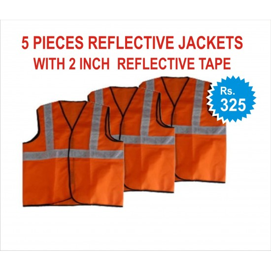 """5 PIECES REFLECTIVE JACKETS- 2"""" REFLECTIVE TAPE JACKETS. RS 325 FOR PACK OF 5 PIECES JACKETS. PRICE INCLUDES GST & DOOR DELIVERY ANYWHERE IN INDIA."""