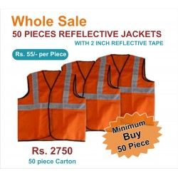 "REFLECTIVE JACKETS- 2"" REFLECTIVE TAPE JACKETS. PRICE INCLUDES GST &  DOOR DELIVERY ANYWHERE IN INDIA."