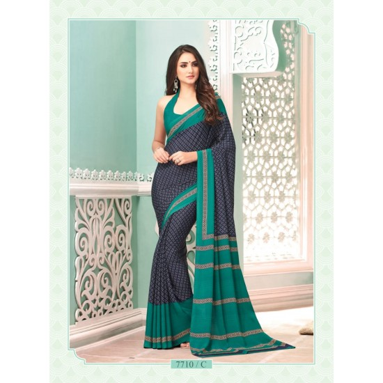 SAREE JAPANESE CREPE SILK LUXURY FULL LENGTH 5.50 MTS + 80 CMS FOR BLOUSE INCLUSIVE.