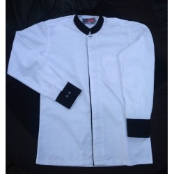 Shirt Formal Men's Stand Collar Office Wear Premium White Colour With Black Trimming