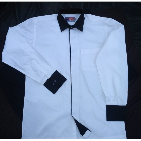 Shirt Formal Men's Office Wear Premium White Colour With Black Trimming